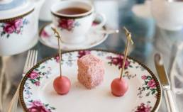 Rosewater lamington and Rhubarb and white chocolate truffle