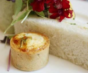 Mini quiche and finger sandwiches