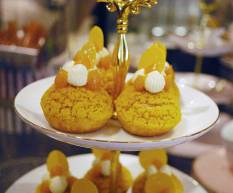 White chocolate and passionfruit choux