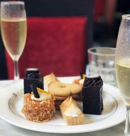 Selection of decadent petite cakes and sweets
