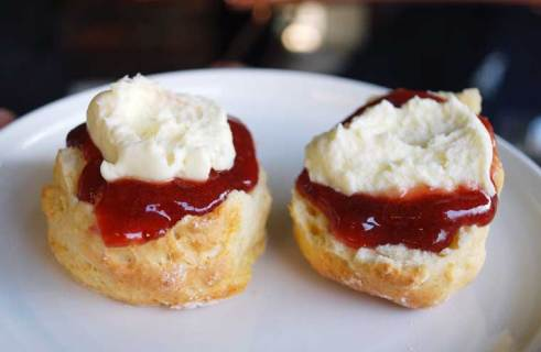 Buttermilk scones with clotted cream and home-made preserves