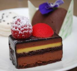 Dark chocolate passion fruit and delight with raspberry sphere