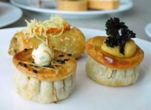 Mini mushroom pies, mini beef pies and cheese and spinach mini rolls