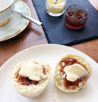 House baked scones with homemade jam and double cream