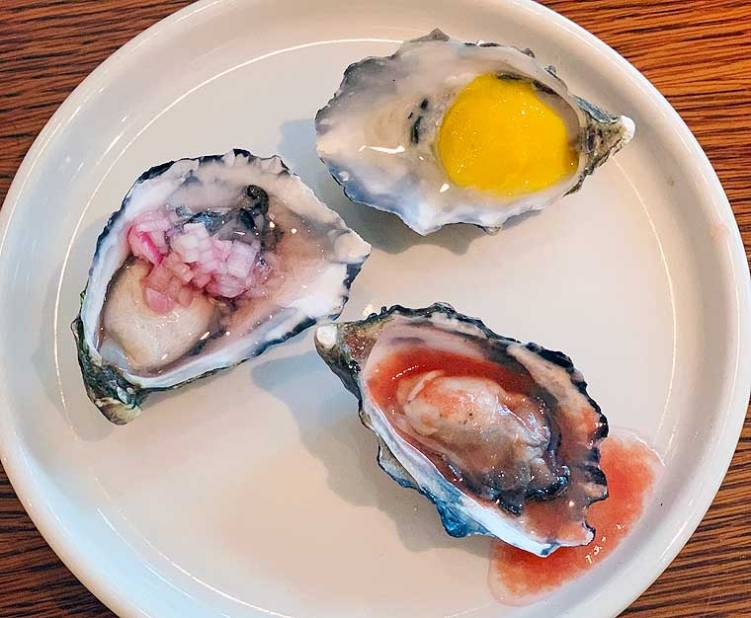 Tasmanian Pittwater Oysters served three ways