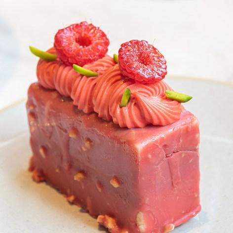 Strawberry Fraisier — strawberry crémeux, raspberry gelée, white chocolate mousse