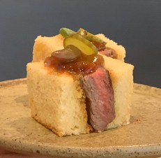 Hearth grilled wagyu steak sandwich, horseradish, cucumber