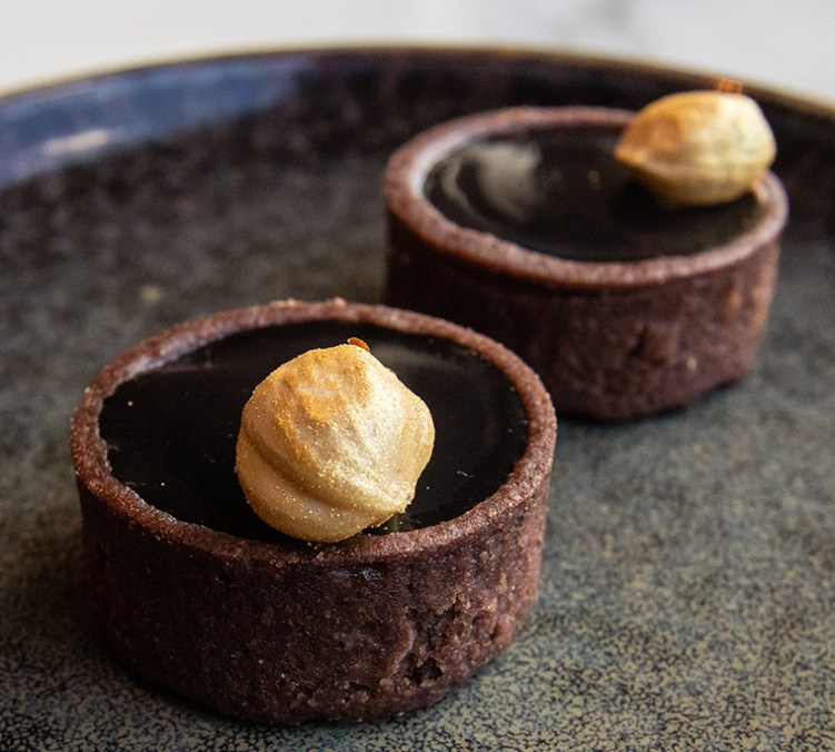 Valrhona chocolate & hazelnut tartlet