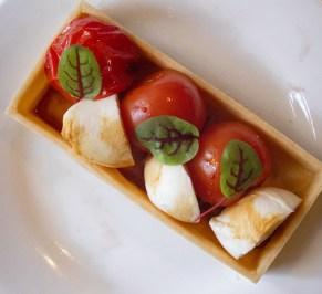 Bocconcini mozzarella tartlet, tomato concassed, basil, vincotto