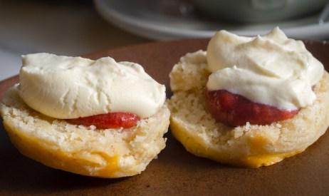 Buttermilk scone, whipped vanilla cream, strawberry jam