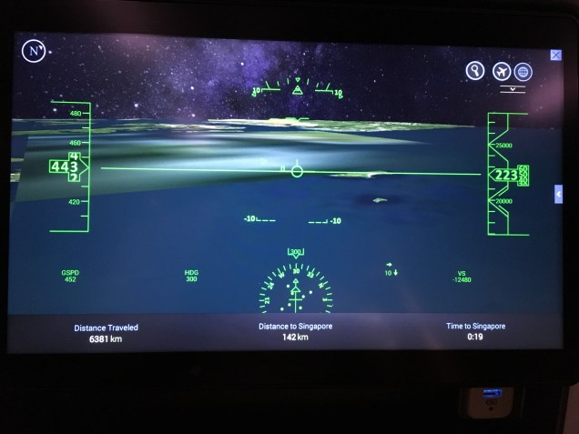 """The """"cockpit"""" view in the IFE flight map"""