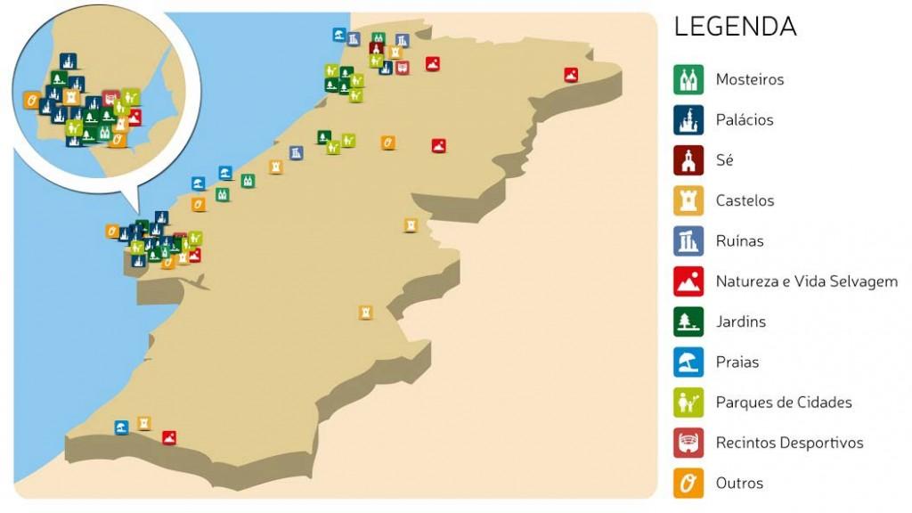 Google e as maravilhas de Portugal. Mapa infográfico