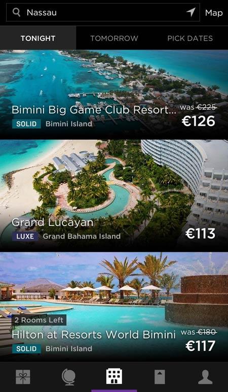 HotelTonight app com novos destinos