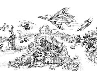 cartoon showing an innocent family caught between the u.s. military
