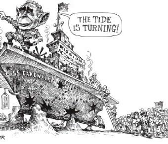 """cartoon showing bush riding the """"u.s.s cakewalk"""""""