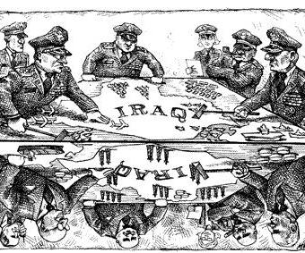 cartoon showing generals plotting over iraq
