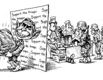 Cartoon showing bush keeping food from soldiers