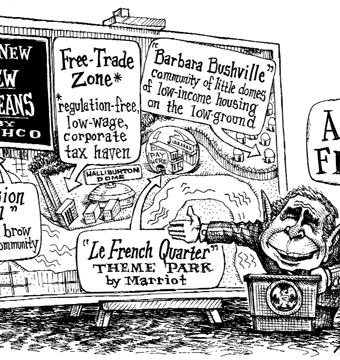 Cartoon satirizing bush's new new orleans