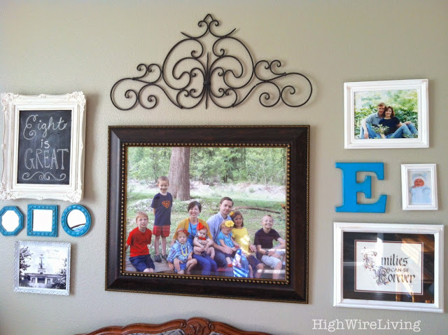 living room gallery wall family photos