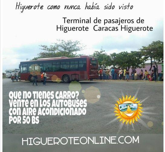 No tienes carro , no importa vente a HIGUEROTE desde Caracas en autobús con aire acondicionado