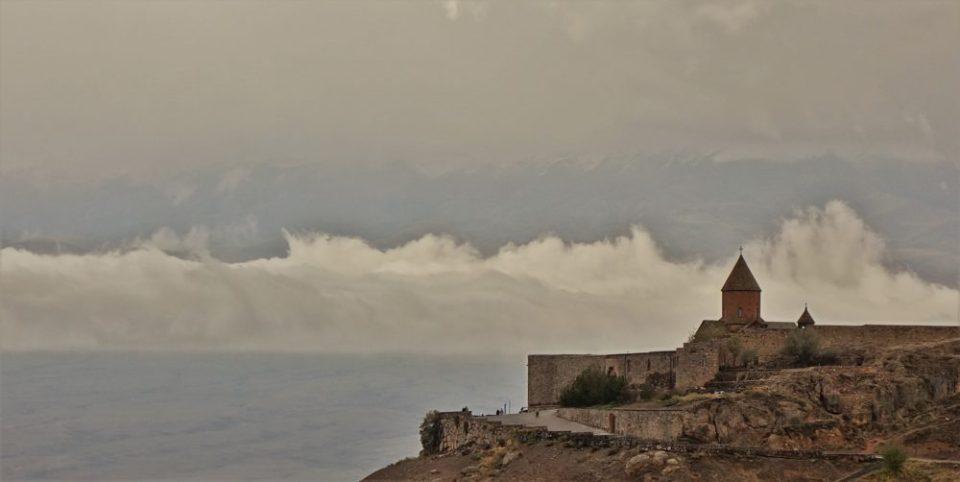 The cloudy Khor Virap view of Ararat.