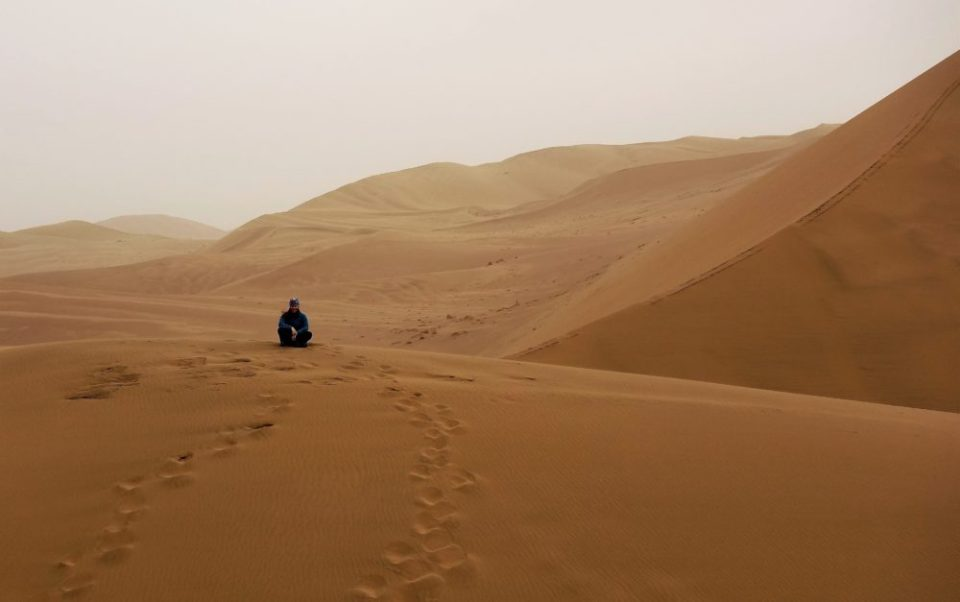On itinerary: climbing the dunes