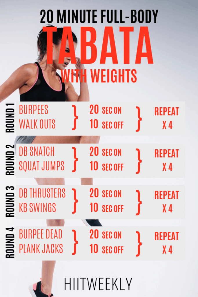 20 Minute Full Body Tabata Workout With Weights. This Tabata HIIT can be completed in 10 or 20 minutes. Tabata Workout With Dumbbells and kettlebells. #tabata #tabataworkout
