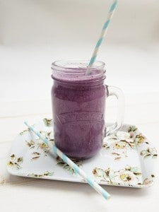 Get your day off to a fkying start with this protein packed Blueberry Oat Protein Smoothie Recipe pefect in the morning or as a post workout protein shake.