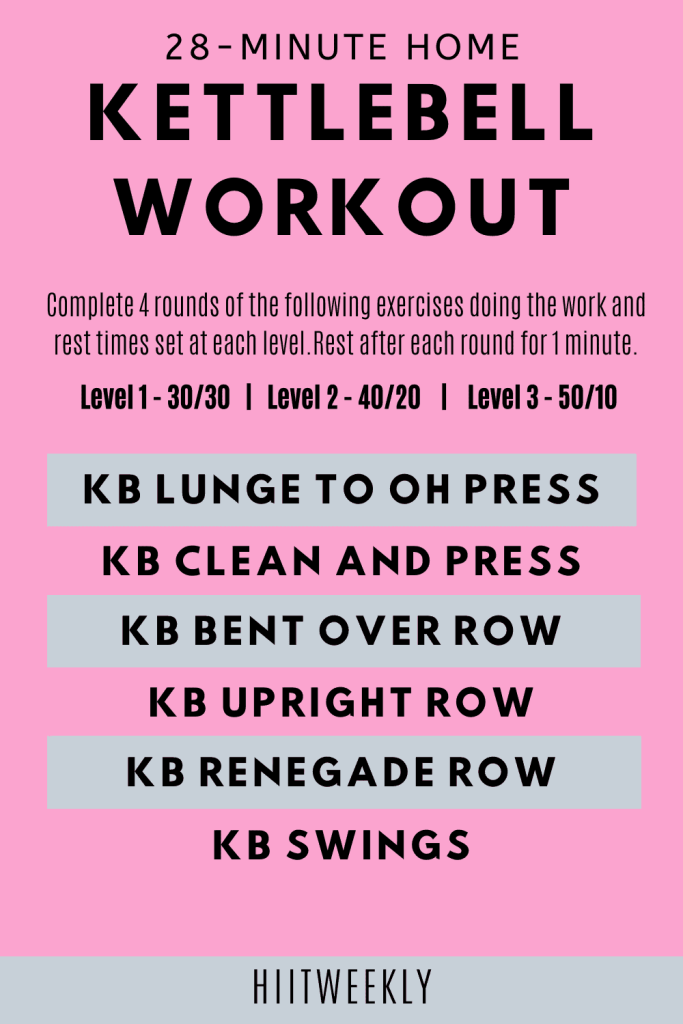 Get ready for a quick fat burning workout with ketlebells that you can do at home in under 30 minutes.