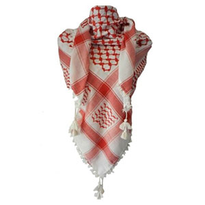 Red And white Embroided Arab Shemagh Head Scarf Neck Wrap Cotton