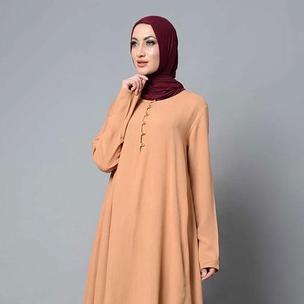Asymmetrical double layered modest wear muslimah abaya dress - Burlwood