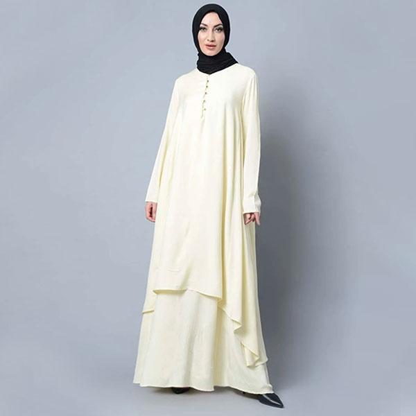 Asymmetrical double layered modest wear muslimah abaya dress - White