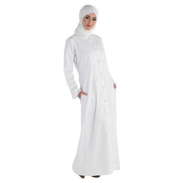 Curved hemline loose hajj kaftan style abaya dress