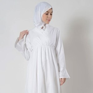 Criss cross stitched bell sleeves abaya dress