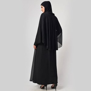 Classic Black With Upper Cape Everyday Abaya