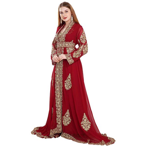 Maroon Jellabiya Moroccan Caftan Dress