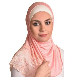 Women Floral Lace Edges Hijab Shawl Cotton Muslim Maxi Scarf Baby Pink
