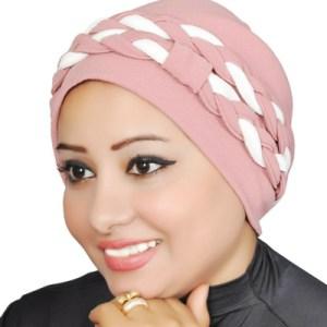 Women Turban Two-Tone Double Braid Turban Cotton Spandex Blend – Black