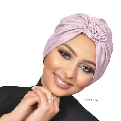 Women turban design glitter fabric turban , sparkling turban , women turban – Blush