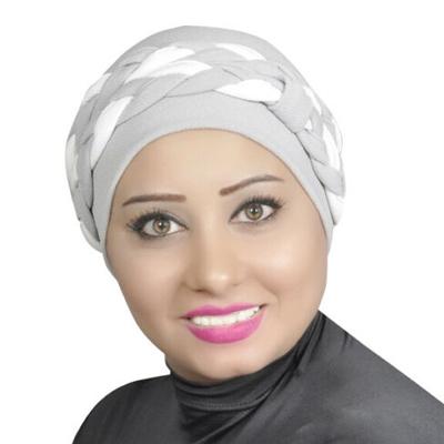 Women Turban Two-Tone Double Braid Cotton Spandex Blend – Grey