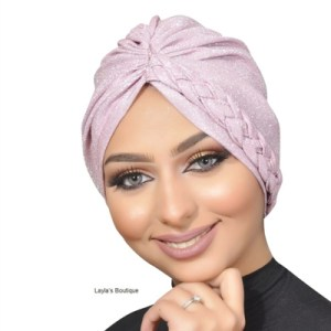 Turban Braided glitter fabric turban, sparkling turban, women turban