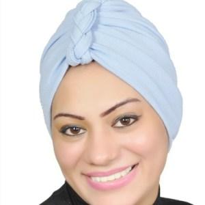 Women Turban Muslim Turban Head Hijab Turban Wrap Cover Cotton Spandex Blend – Sky-blue