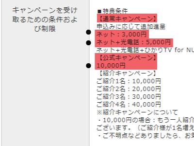 NURO光ライフバンクのキャッシュバック額