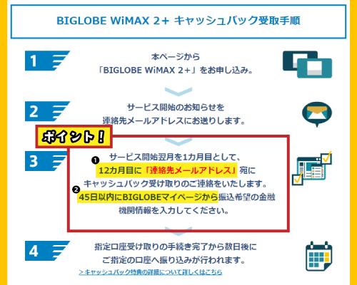 BIGLOBE WiMAXキャッシュバックの注意