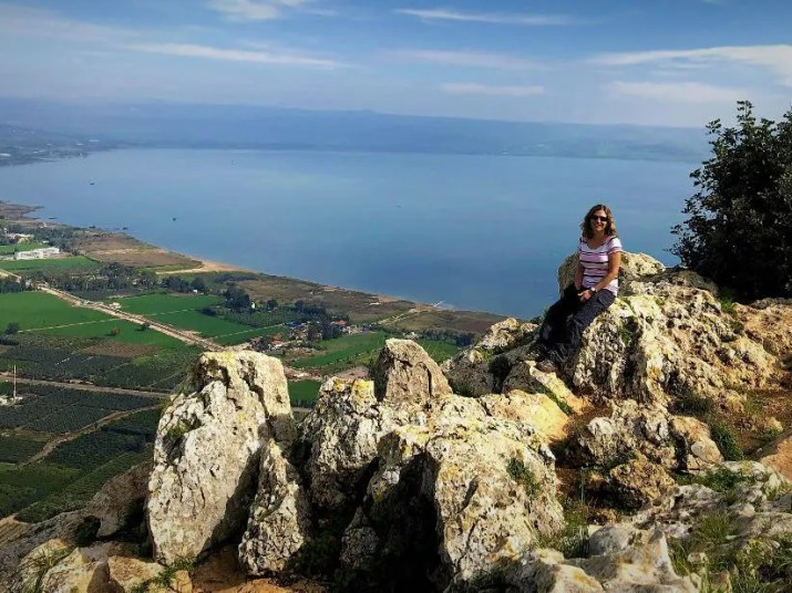 The sea of Galilee seen from Mount Arbel