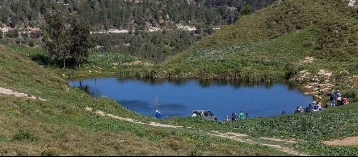 Green meadows around the Blue Eye Pond