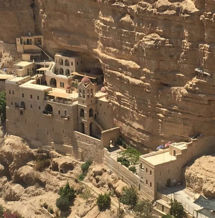 Wadi Qelt famous Monastery Viewed from the high cliffs on the opposite site
