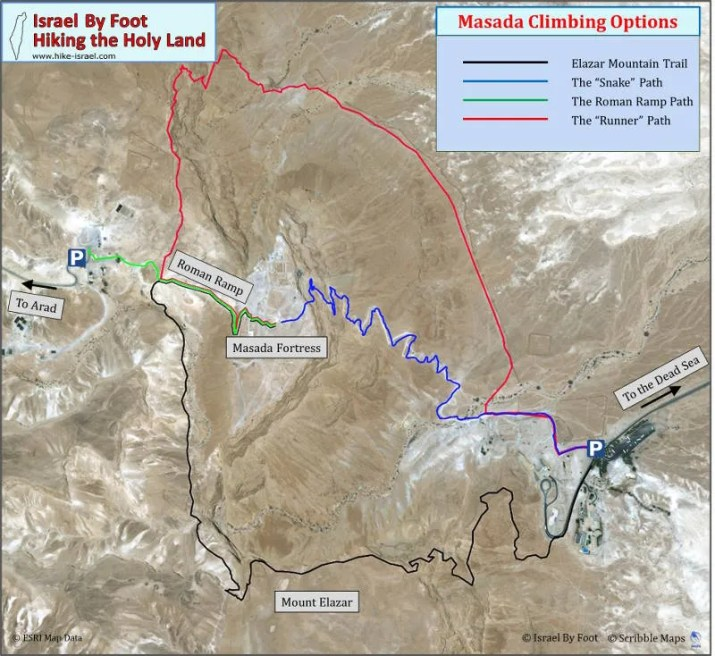 A map of all the options to hike up to Masada