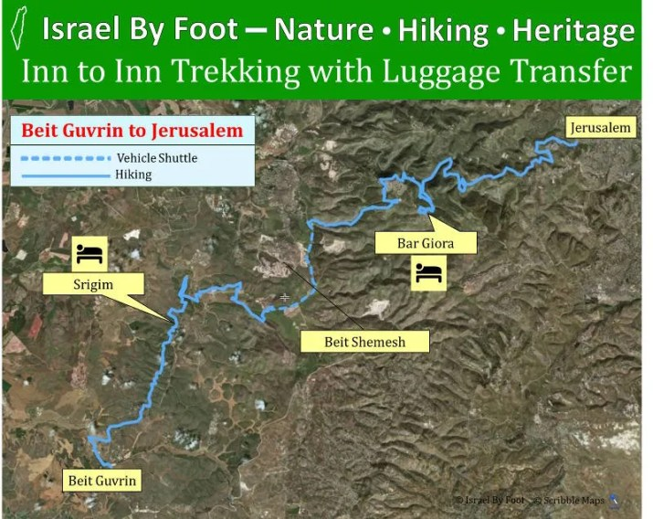 4 days inn to inn trek from beit guvrin to Jerusalem (Overview map)