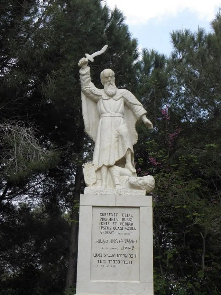 The statue of Elijah the Prophet at the Muhraka on mount Carmel